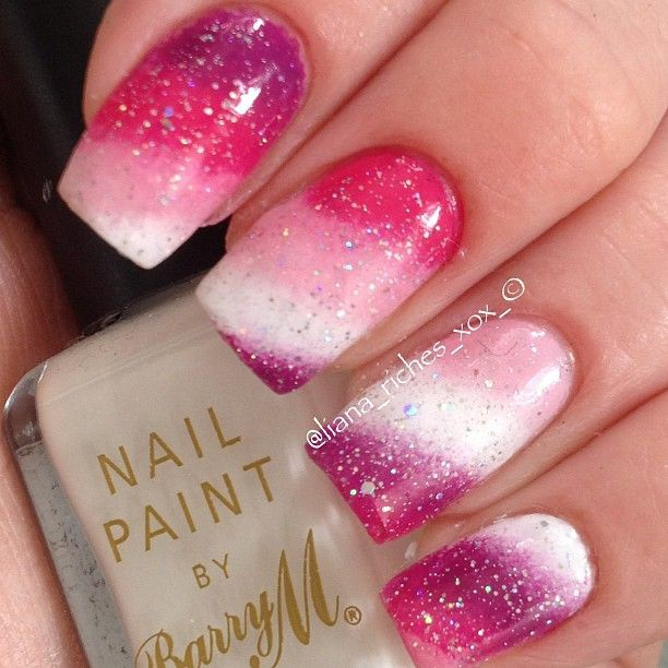 beautiful red manicure white pink красно розовый белый маникюр