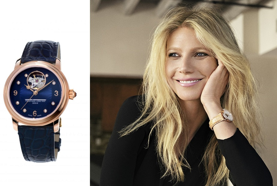 Гвинет Пелтроу в часах Frederique Constant Ladies Automatic Heart Beat